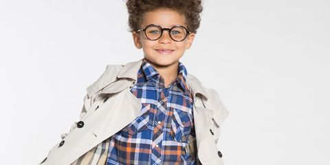 Eyewear, Vision care, Plaid, Glasses, Dress shirt, Collar, Sleeve, Shoulder, Tartan, Textile,