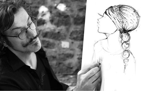 Shirt, Style, Line art, Gesture, Black-and-white, Beard, Facial hair, Drawing, Moustache, Portrait,