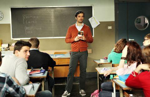 Leg, Room, Class, Table, Education, Classroom, Luggage and bags, Bag, Blackboard, Teacher,
