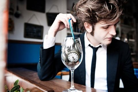 Drinkware, Glass, Stemware, Barware, Tableware, Champagne stemware, Wine glass, Blazer, Houseplant, Tie,