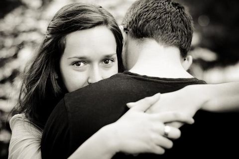 Hair, Hairstyle, Mammal, People in nature, Interaction, Romance, Love, Monochrome photography, Hug, Flash photography,