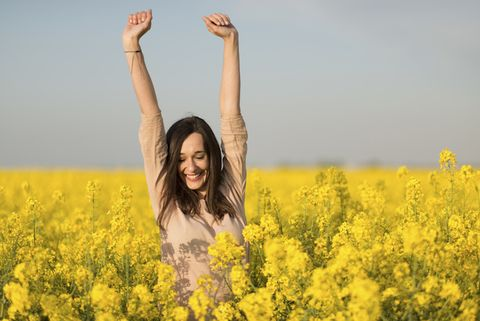 Yellow, Flower, Photograph, Happy, Rejoicing, People in nature, Summer, Field, Facial expression, Agriculture,
