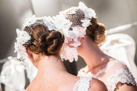 Clothing, Ear, Hairstyle, Bridal accessory, Hair accessory, Photograph, Headpiece, Style, Wedding dress, Petal,