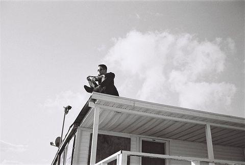 Ladder, Street light, Monochrome, Roof, Monochrome photography,