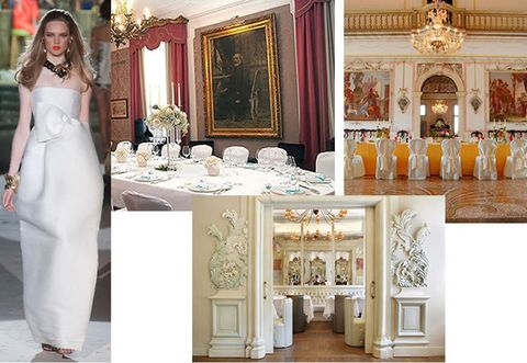 Interior design, Dress, Interior design, Gown, Petal, Tablecloth, Hall, Bridal clothing, Picture frame, Peach,