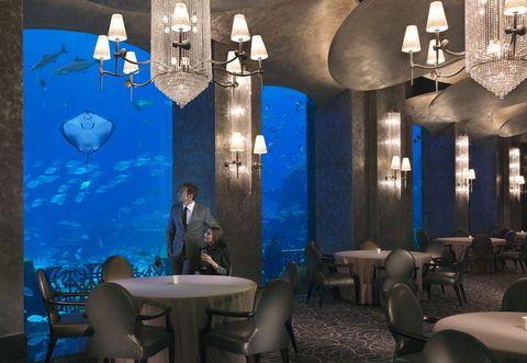 Lighting, Blue, Interior design, Light fixture, Furniture, Table, Room, Ceiling, Interior design, Lighting accessory,