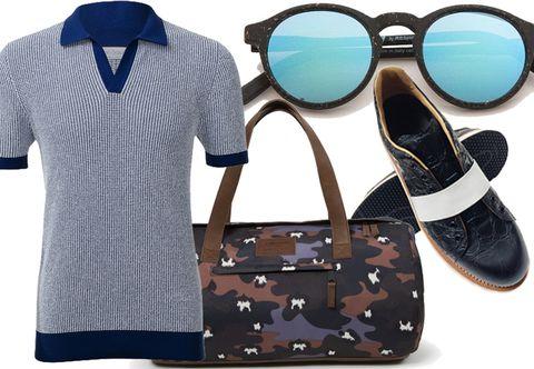 Eyewear, Blue, Product, Brown, Collar, Sleeve, Dress shirt, Textile, Goggles, White,