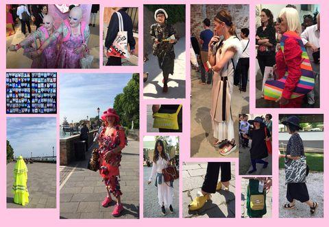 Photograph, Pink, Collage, Magenta, Purple, Dress, Ceremony, Street fashion, Photomontage, Costume,