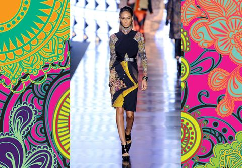 Yellow, Pattern, Dress, One-piece garment, Fashion model, Fashion, Street fashion, Day dress, Visual arts, Runway,