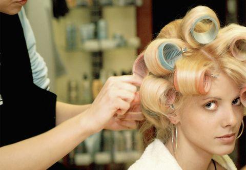 Hairstyle, Eyebrow, Eyelash, Beauty salon, Style, Blond, Hair accessory, Hairdresser, Makeup artist, Hair coloring,
