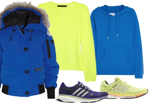 Blue, Product, Yellow, Sleeve, Textile, White, Collar, Electric blue, Font, Athletic shoe,