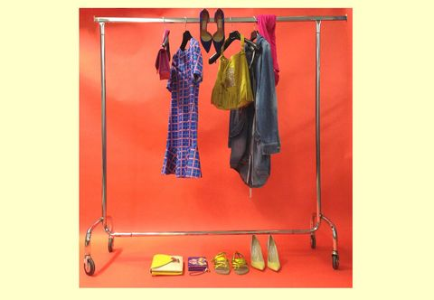Red, Clothes hanger, Bag, One-piece garment, Fashion design, Costume design, Vintage clothing,