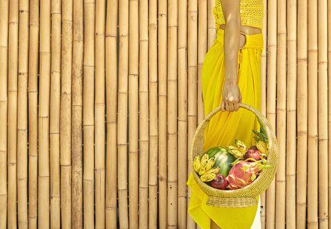 Yellow, Produce, Basket, Natural foods, Vegetable, Fruit, Whole food, Storage basket, Wicker,