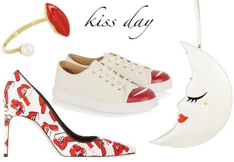 Footwear, Product, Red, White, Font, Carmine, Fashion, Pattern, Beige, Design,
