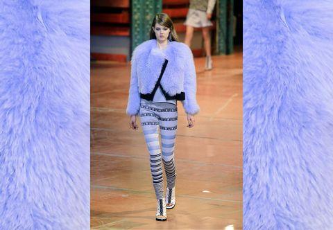 Blue, Sleeve, Winter, Electric blue, Fashion, Street fashion, Cobalt blue, Fashion show, Fashion model, Fur,