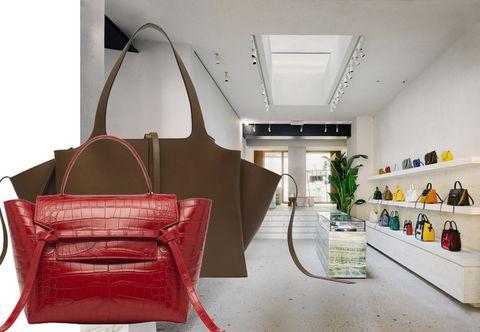 Interior design, Bag, Shoulder bag, Ceiling, Shelving, Leather, Luggage and bags, Maroon, Shelf, Interior design,