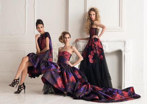 Dress, Shoulder, Textile, Formal wear, Style, Gown, One-piece garment, Waist, Purple, Fashion model,