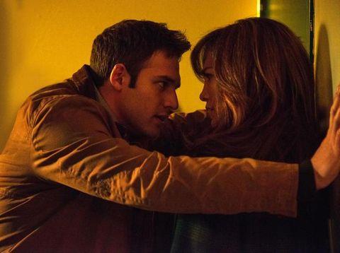 Jacket, Interaction, Romance, Love, Gesture, Hug, Long hair, Brown hair, Leather jacket, Scene,