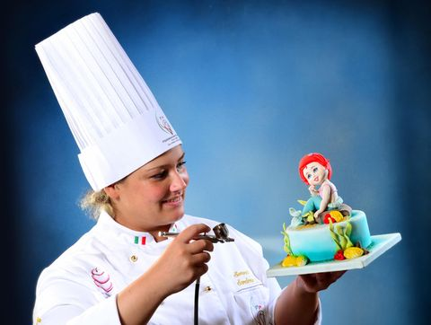 Cook, Hand, Happy, Chef, Cuisine, Ice cream, Fictional character, Dessert, Costume accessory, Animation,