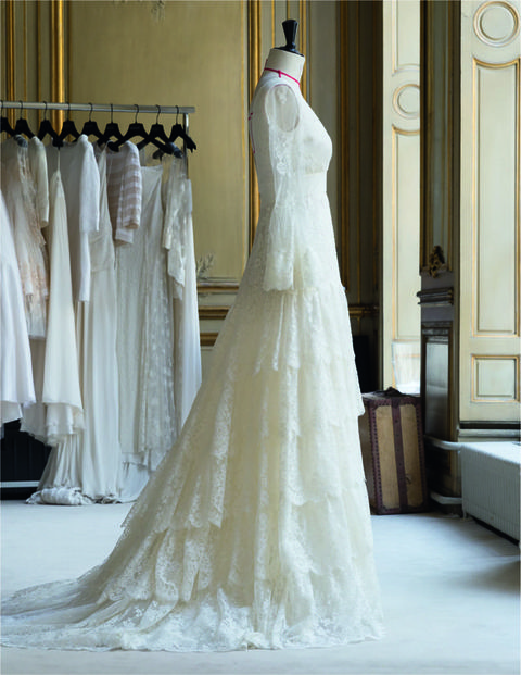 Clothing, Bridal clothing, Textile, Dress, White, Gown, Wedding dress, Floor, Formal wear, Door,