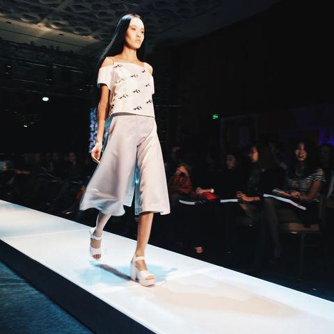 Fashion show, Runway, Skin, Shoulder, Joint, Human leg, Fashion model, Style, Waist, Beauty,