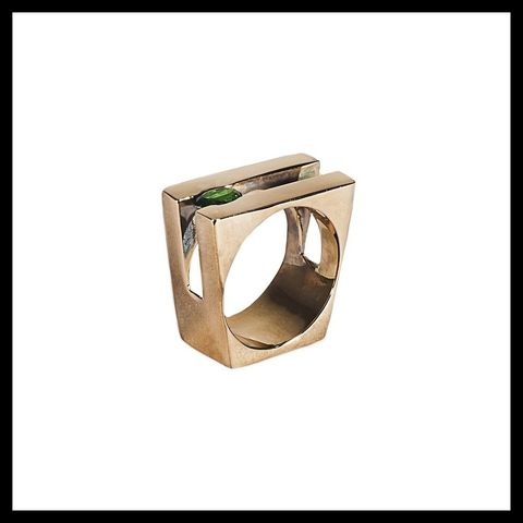 Ring, Khaki, Natural material, Beige, Metal, Rectangle, Gemstone, Brass, Silver, Body jewelry,