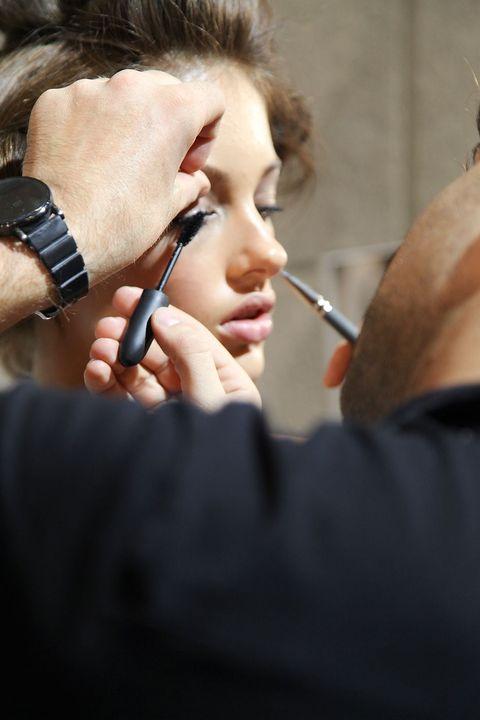 Finger, Watch, Eyebrow, Eyelash, Wrist, Makeup artist, Nail, Personal grooming, Cosmetics, Makeover,