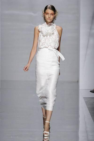 Clothing, Shoulder, Fashion show, Joint, White, Style, Waist, Fashion model, Runway, Fashion,