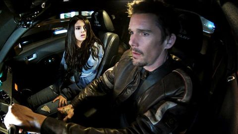 Leather, Beard, Luxury vehicle, Head restraint, Leather jacket, Movie, Fictional character, Action film, Car seat,