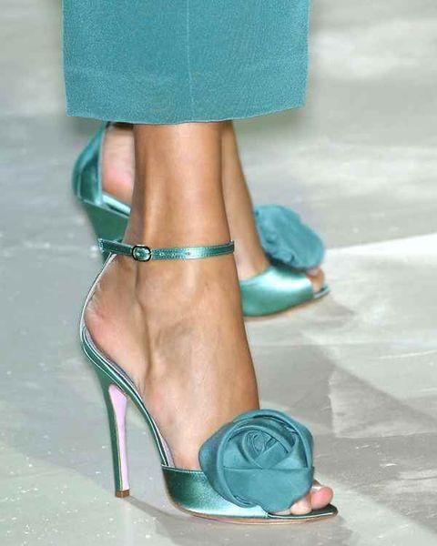 Footwear, Blue, High heels, Green, Human leg, Aqua, Teal, Joint, Turquoise, Sandal,