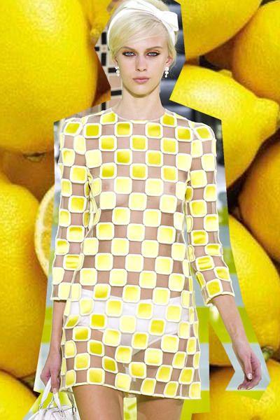 Yellow, Dress, Orange, Fruit, Beauty, Eyelash, Trunk, Day dress, One-piece garment, Street fashion,