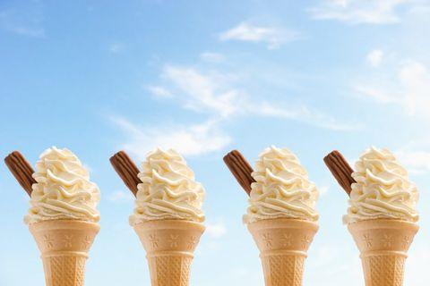 Food, Dessert, Ice cream cone, Cone, Dairy, Frozen dessert, Ingredient, Sweetness, Cuisine, Ice cream,
