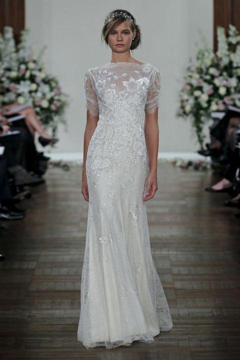 Shoulder, Dress, Textile, Bridal clothing, Gown, Formal wear, Floor, Flooring, Wedding dress, Fashion,