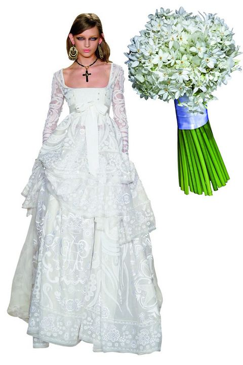 Clothing, Sleeve, Dress, Textile, Bouquet, Formal wear, Petal, One-piece garment, Gown, Cut flowers,