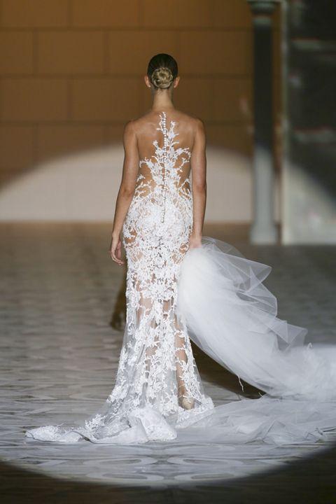 Shoulder, Dress, Bridal clothing, Wedding dress, Gown, Waist, Bridal accessory, Bride, Strapless dress, Fashion model,