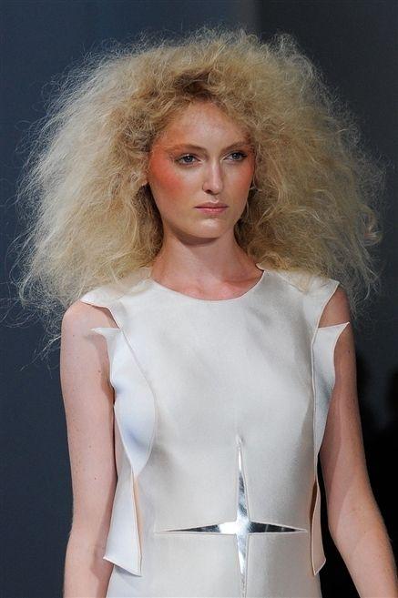 Lip, Hairstyle, Shoulder, Chest, Fashion model, Fashion show, Beauty, Fashion, Blond, Model,