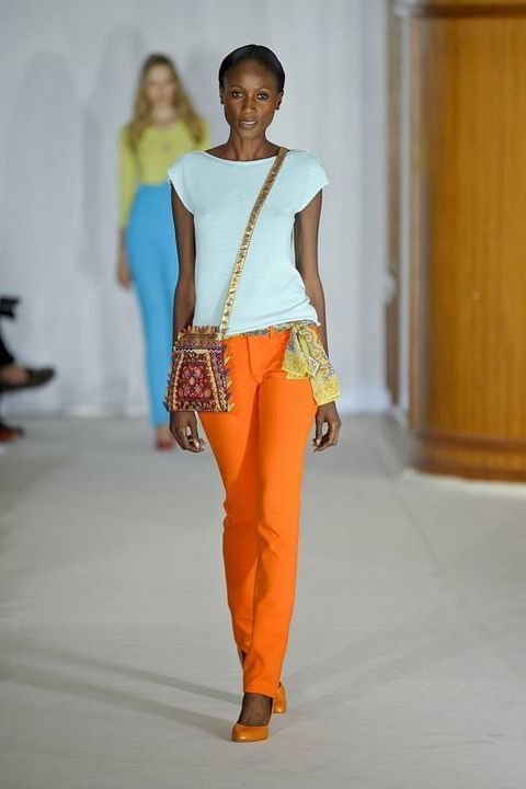Brown, Yellow, Shoulder, Joint, Fashion show, Style, Waist, Amber, Jewellery, Orange,