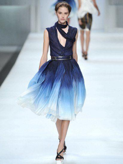 Clothing, Blue, Dress, Shoulder, Fashion show, Joint, One-piece garment, Style, Waist, Fashion model,