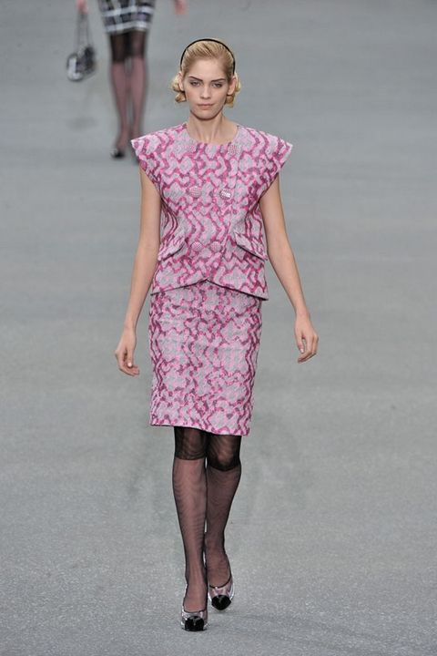 Clothing, Sleeve, Shoulder, Human leg, Dress, Joint, Pink, One-piece garment, Style, Fashion show,