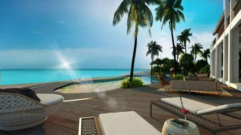Property, Coastal and oceanic landforms, Ocean, Resort, Real estate, Arecales, Watercraft, Azure, Tropics, Outdoor furniture,