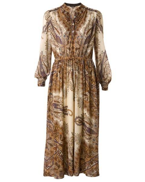 Brown, Sleeve, Textile, Pattern, Dress, Fashion, Beige, One-piece garment, Fashion design, Day dress,