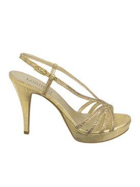 840c37fee186f Sandalo gioiello in pelle stampata e laminata color oro con tacco e  plateau. L effetto lucente della particolare lavorazione del pellame esalta  lo splendore ...