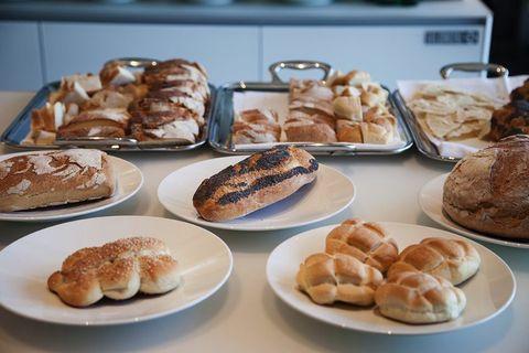 Food, Cuisine, Ingredient, Baked goods, Dish, Bread, Finger food, Plate, Snack, Breakfast,