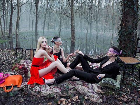 Tree, Dress, Fashion accessory, Youth, Sun hat, Costume, Woodland, Photo shoot, Boot, Strapless dress,