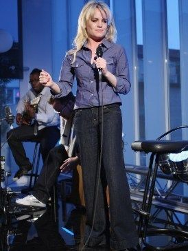 Microphone, Product, Audio equipment, Shoe, Denim, Sitting, Public address system, Audio accessory, Microphone stand, Blond,