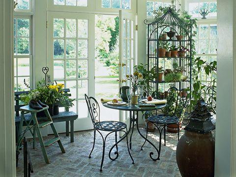 Flowerpot, Room, Interior design, Table, Furniture, Chair, Glass, Fixture, Interior design, Houseplant,