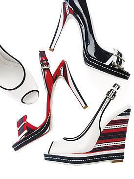 Red, White, Carmine, Bicycle part, High heels, Fashion design, Dancing shoe, Silver, Bridal shoe, Strap,