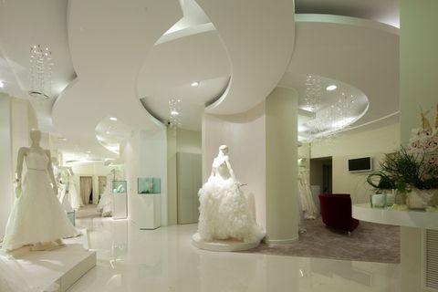 Floor, Interior design, Dress, Ceiling, Flooring, Wedding dress, Interior design, Houseplant, Gown, Ivory,