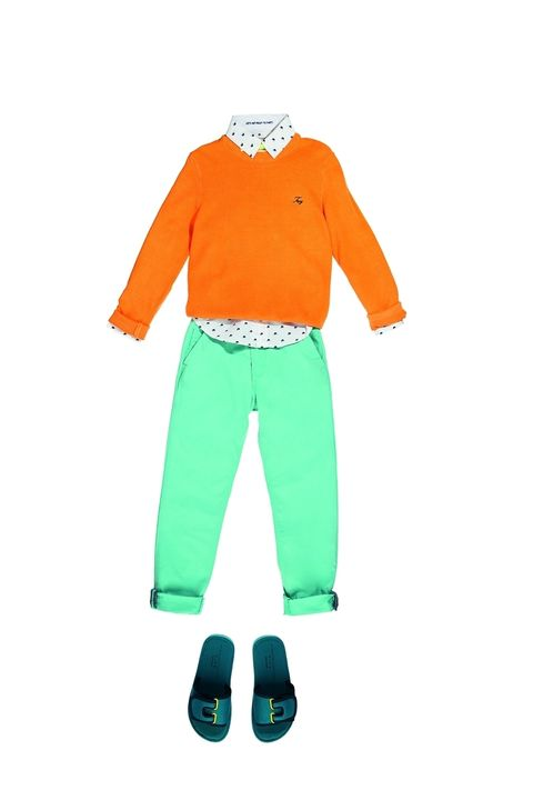 Sleeve, Collar, Trousers, Standing, Style, Orange, Turquoise, Teal, Aqua, Waist,