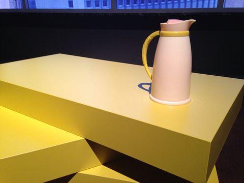 Yellow, Pitcher, Serveware, Jug, Pottery, Cylinder, Kettle, Desk, Small appliance,